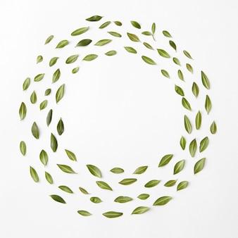 葉の丸いフレーム、フラットレイ