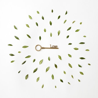 Круглая рамка из лепестков и ключ к сердцу на белом фоне, flat lay