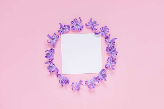 Round frame of pastel purple hyacinth flowers and blank note on gradient pink. floral wreath. layout for holidays greeting of mothers day, birthday, wedding or other happy event