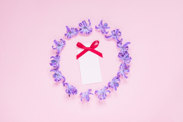 Round frame of pastel purple hyacinth flowers and empty greeting card with red bow on gradient pink background