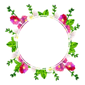 ラウンドフレーム。葉とピンク紫ゼニアオイ。白アオイ科の植物。手描きの水彩イラスト。孤立。