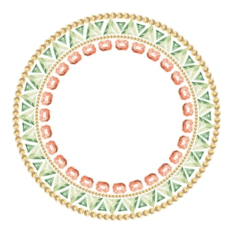 Round frame of precious multi-colored stones and crystals