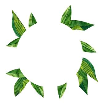 緑の熱帯の葉と丸いフレーム。手描きの水彩イラスト。孤立。