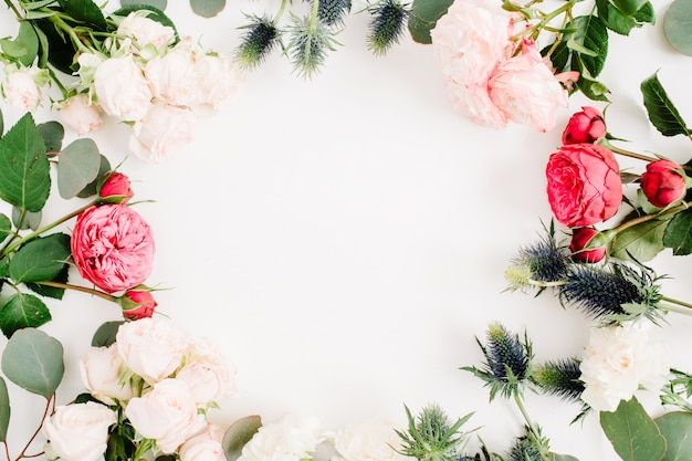 Round frame wreath made of red and beige rose flowers, eringium flower, eucalyptus branches and leaves on white