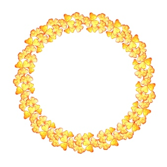 Round frame of yellow leaves of ginkgo biloba.