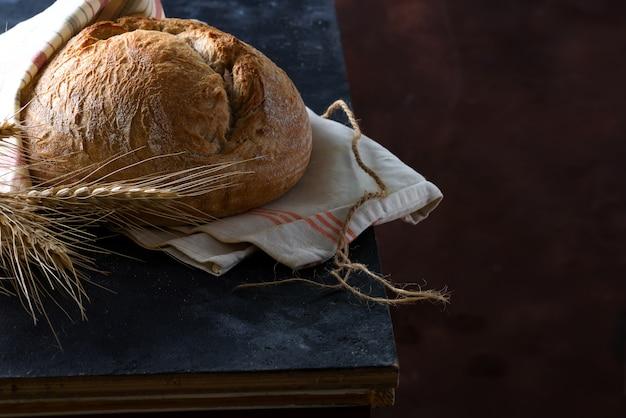 Round freshly baked rustic rye round bread