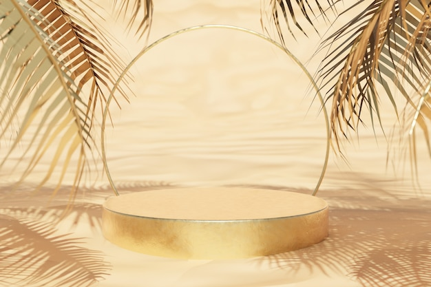 Round gold cylinder podium with palm trees