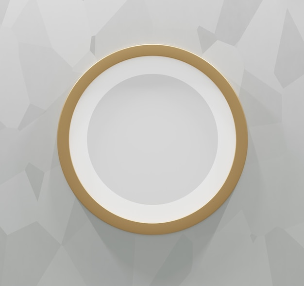 Round gold frame on an abstract gray background. 3d render