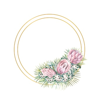 프로 테아 꽃, 열대 잎, 야자 잎, 부바 디아 꽃이있는 라운드 골드 프레임