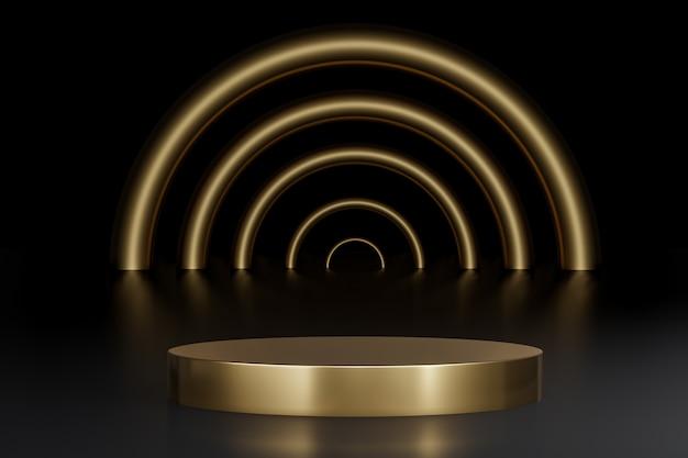 Round gold podium for product presentation