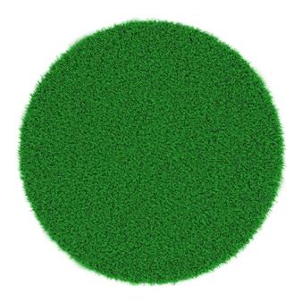 上に滑らかな刈り取られた草が付いている丸い緑の芝生