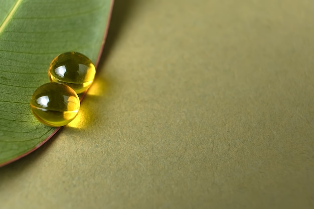 Round herb capsules with antioxidant on fresh green leaf