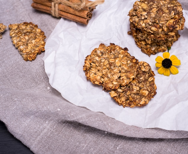 Round homemade oatmeal cookies