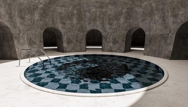 Round indoor swimming pool in a sunlit arched room