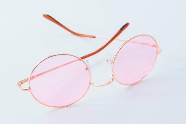 Round italian sunglasses on white