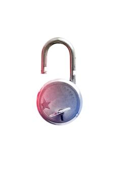 흰색 바탕에 둥근 자물쇠와 열쇠입니다.