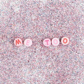 Round me too beads word typography on glitter pastel