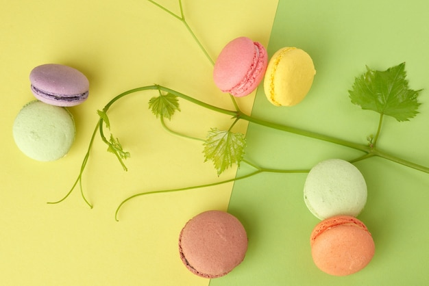Round multi-colored baked macarons, dessert lies on a yellow green
