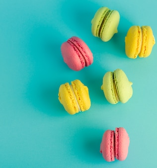 Round multicolored pastry with almond flour macarons