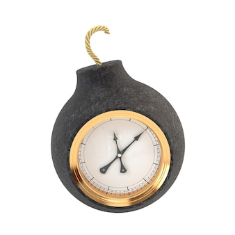 Round old bomb with a gold dial isolated on white background.