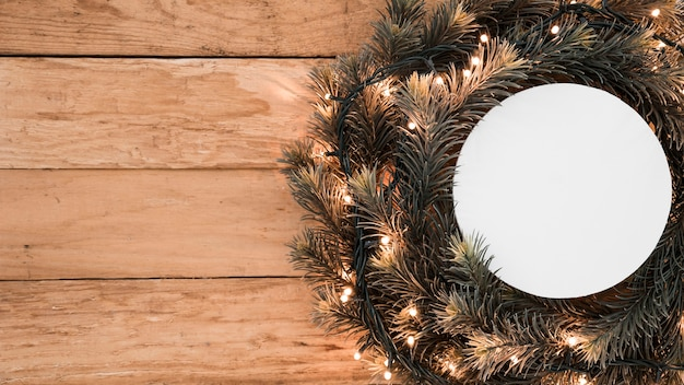 Round paper on christmas wreath