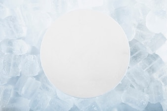 Round paper on ice cubes