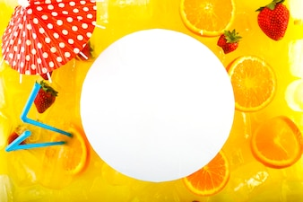 Round paper sheet of delicious cocktail