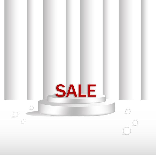 빨간색 판매 배너 템플릿 디자인이 있는 둥근 받침대, 연단 위의 밝은 스포트라이트가 회색 벽돌 배경 위에 있습니다. 삽화