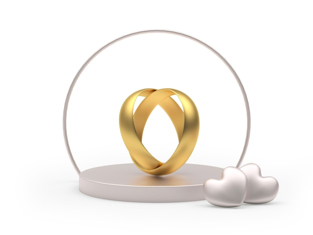 Round pedestal with wedding rings in the shape of a heart