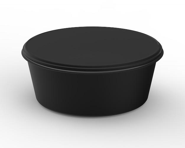 空白のラベルが付いた丸いプラスチック容器