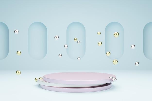 Круглые тарелки для презентации продукции с металлическими пузырями, сцена 3d моделирования в спокойных пастельных тонах