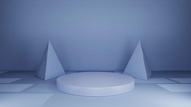 丸い台座、灰色の背景、抽象的なピラミッド型の背景、3dレンダリング。