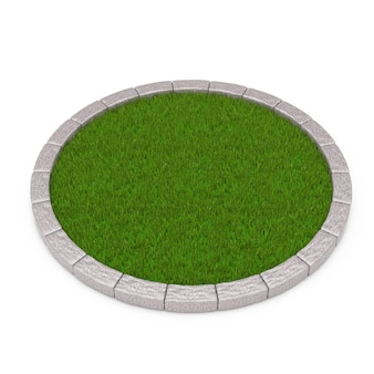 Round plot of dense green grass on a white background. 3d rendering