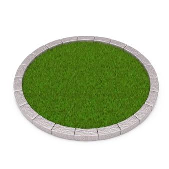 Круглый участок густой зеленой травы на белом фоне. 3d рендеринг