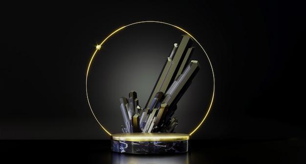 제품 프레젠테이션을 위한 원형 연단입니다. 제품 디스플레이를 위한 추상 검정색 및 금색 받침대, 빈 플랫폼. 프리미엄 사진