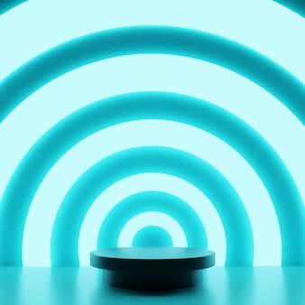 製品スタンドのラウンド表彰台。照明、製品展示用の抽象的な空白の台座。プレミアム写真