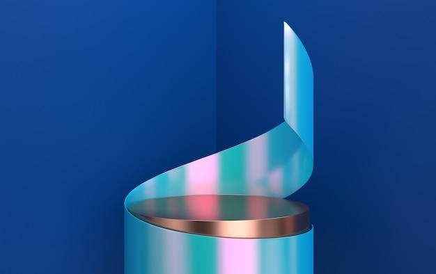 Led 스포트라이트로 조명되는 둥근 연단, 받침대 또는 플랫폼. 삽화. 밝은 빛 연단. 빈 제품 스탠드와 빛으로 추상적 인 배경. 3d 렌더링