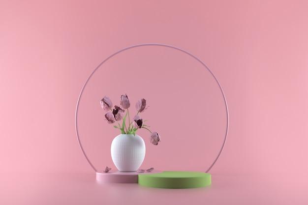 Round podium on pink pastel. elegant white vase with flowers on round pedestal. 3d render illustration.