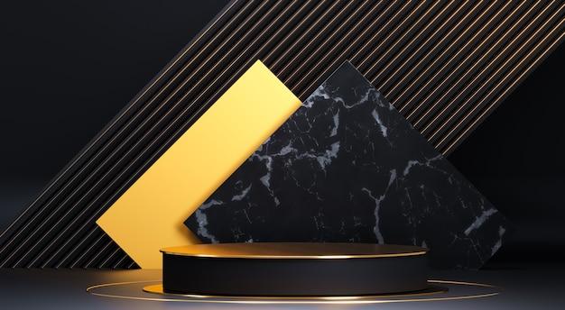 Круглый подиум с геометрическими фигурами и золотыми элементами