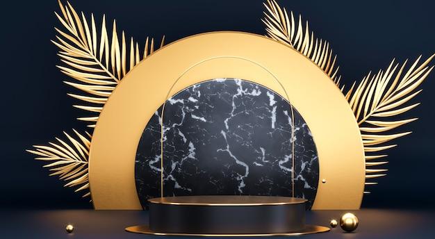 Круглый подиум с золотыми пальмовыми листьями. абстрактный пустой постамент, демонстрационная площадка. премиум фото