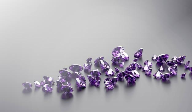 광택 있는 배경 3d 렌더에 배치된 둥근 보라색 보석 및 보석 다이아몬드 그룹