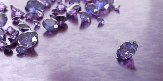 Round purple gems and jewelry diamond groups placed on glossy background