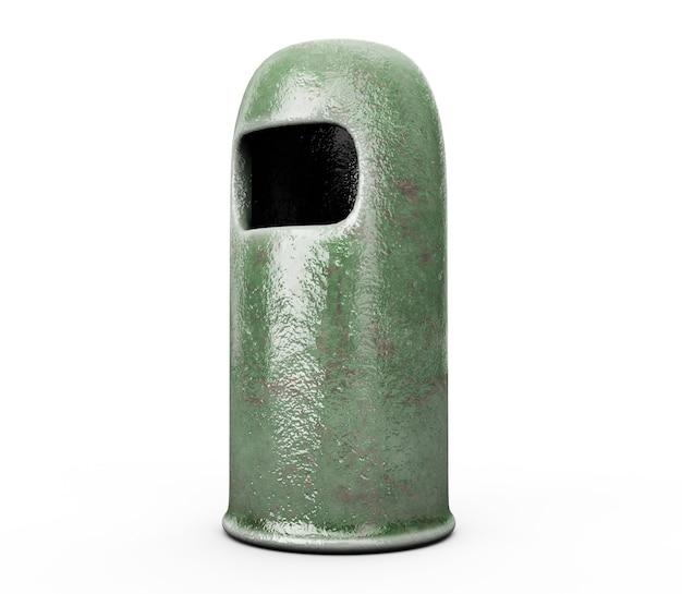 라운드 휴지통 - 녹색, 3d 렌더링
