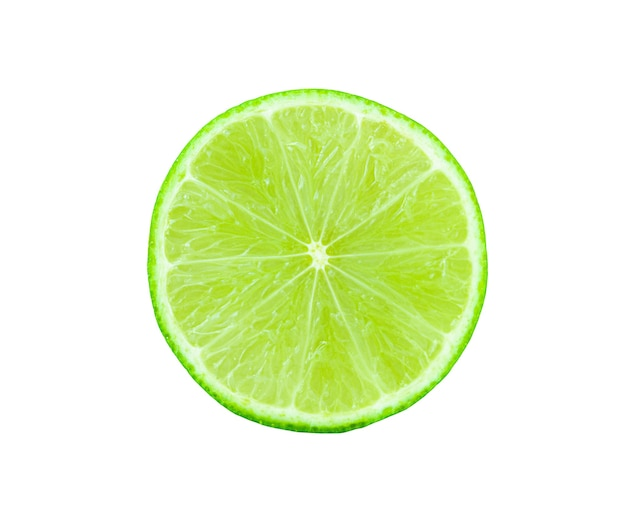 Round slice of lime isolated