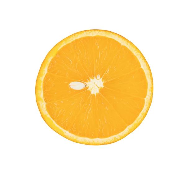 Round slice of orange isolated