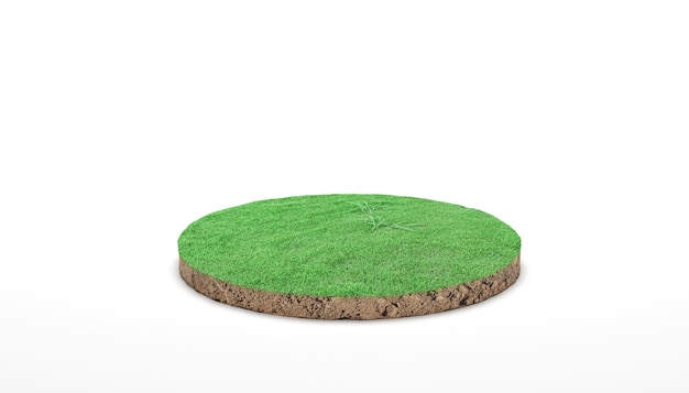 Круглый поперечный разрез почвы почвы с зеленой травой на белом