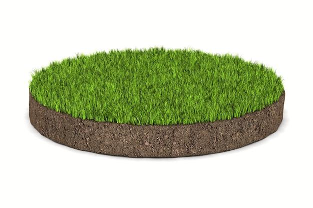 白い背景の上の緑の草と丸い土の地面。分離された3dイラスト