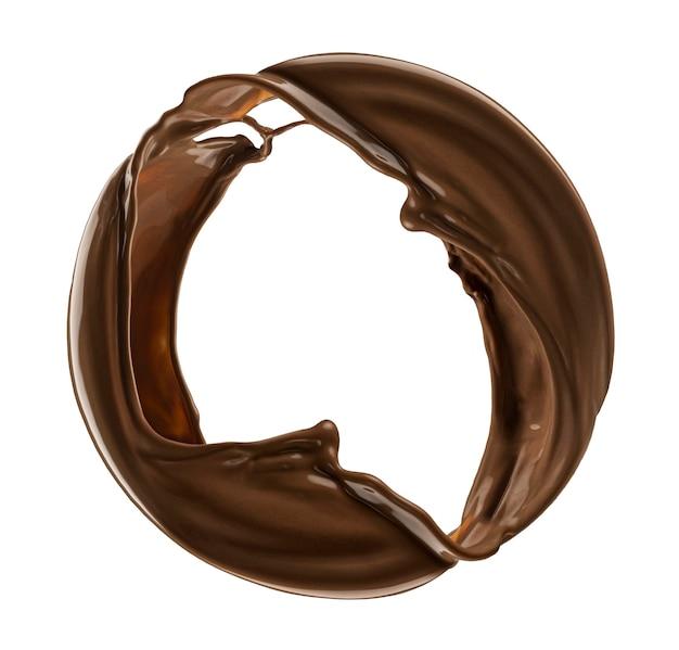 흰색 배경에 고립 된 초콜릿의 라운드 밝아진
