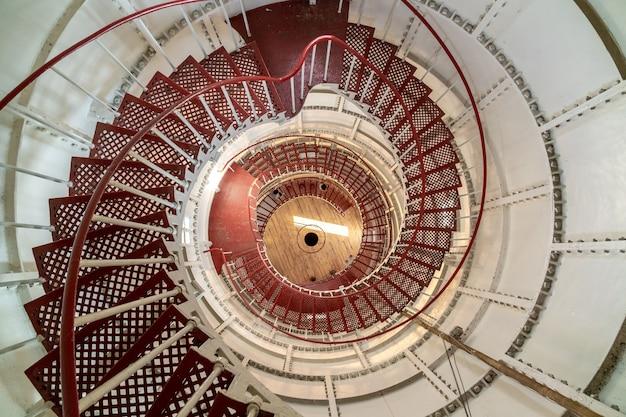 Round staircase in the interior of the poti lighthouse, travel to georgia