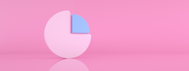 Round statistics graph over pink background, 3d render, panoramic mockup image